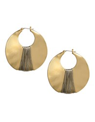 Kenneth Cole Large Gold And Hematite Sculptural Hoop Earring