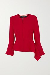 Roland Mouret Noto Asymmetric Wool Crepe Jacket Red