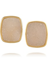 Dara Ettinger Alicia Gold Plated Druzy Earrings Metallic