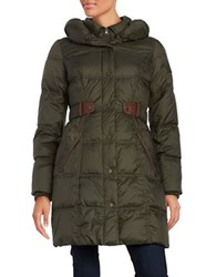 Larry Levine Belted Down Puffer Coat Pesto