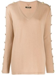 Max And Moi Buttoned Sleeves Jumper Neutrals