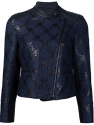 Yigal Azrouel 'Diamond Plaid' Biker Jacket Black