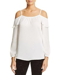 Design History Ruffle Cold Shoulder Blouse Pearl
