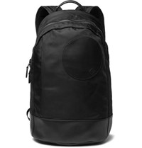 Dunhill Radial Leather Trimmed Shell Backpack Black