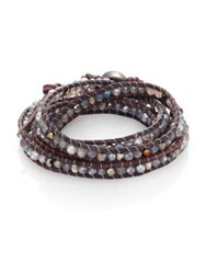 Chan Luu 4Mm Grey Freshwater Pearl Mystic Lab Crystal And Leather Beaded Wrap Bracelet Grey Mix