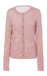 Prabal Gurung Long Sleeve Embroidered Cardigan Pink