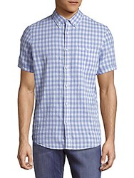 Report Collection Casual Button Down Check Shirt Light Blue