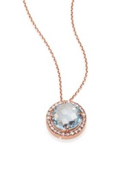 Suzanne Kalan Blue Topaz White Sapphire And 14K Rose Gold Round Pendant Necklace