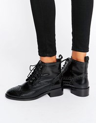 Asos Artistry Leather Lace Up Brogue Boots Black Box Leather