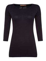 Hugo Boss Tafmous 3 4 Sleeve Basic Jersey Top Navy