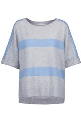 Duffy Striped Cashmere Sweater Light Gray