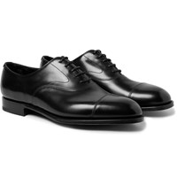Edward Green Chelsea Cap Toe Burnished Leather Oxford Shoes Black