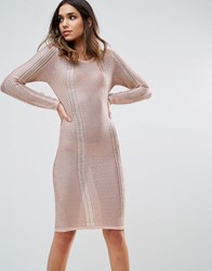 Wow Couture Metallic Crochet Knitted Midi Dress Rose Gold
