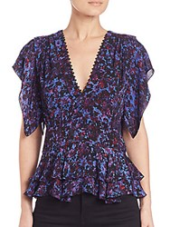Rebecca Taylor Printed Silk Peplum Blouse Blue Black