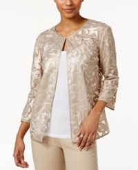 Jm Collection Faux Leather Mesh Jacket Only At Macy's Gold Lurex