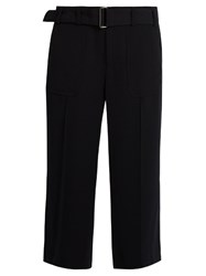 Vince High Rise Wide Leg Crepe Trousers Navy