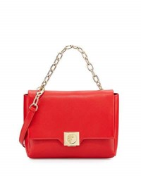 Versace Fold Over Leather Crossbody Bag Red