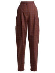 Tibi Checked Twill Tapered Trousers Brown Multi
