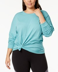 Soffe Curves Plus Size Long Sleeve T Shirt Dusty Turquoise