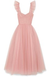 Monique Lhuillier Ruffled Ruched Tulle And Silk Crepe De Chine Gown Pastel Pink