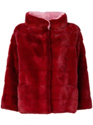 Simonetta Ravizza Funnel Neck Fur Jacket Red