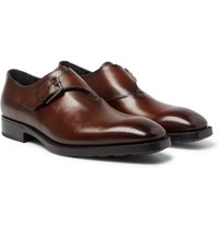 Berluti Leather Monk Strap Shoes Brown