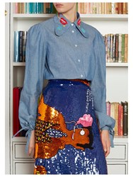 Olympia Le Tan Silver Haze Chambray Top Blue