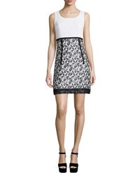 Andrew Gn Sleeveless A Line Combo Dress Black White Black White