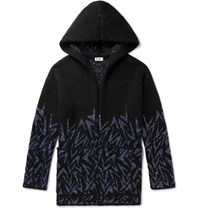 Saint Laurent Bahar Sequin Embellished Knitted Hooded Cardigan Black