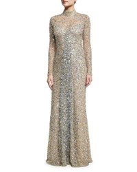 Parker Black Leandra Long Sleeve Beaded Gown Silver