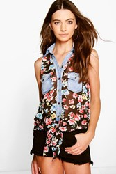 Boohoo Floral Denim Pocket Tie Front Shirt Black
