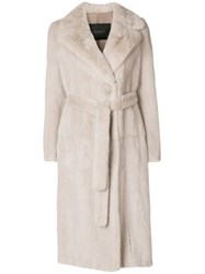 Blancha Mink Fur Belted Coat Nude And Neutrals