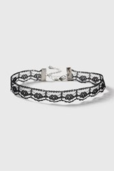Topshop Thin Pointed Lace Choker Necklace Black