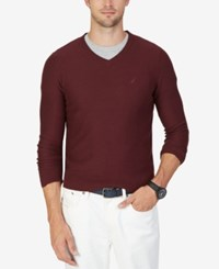 Nautica Men's Textured V Neck Sweater Shipwreck Burgundy