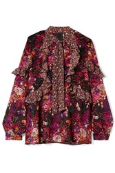 Anna Sui Butterflies And Bells Ruffled Printed Silk Jacquard Blouse Magenta