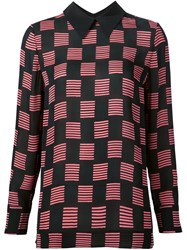 Marni Striped Square Print Blouse Pink And Purple