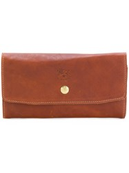 Il Bisonte Embossed Logo Wallet Brown