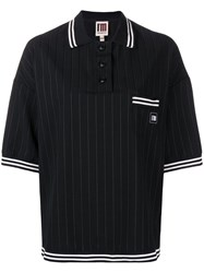 I'm Isola Marras Pinstripe Polo Shirt Black