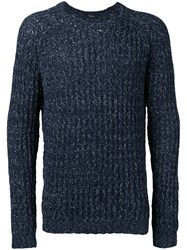 Roberto Collina Ribbed Trim Jumper Blue