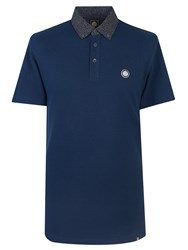 Pretty Green Mayflower Floral Collar Polo Shirt Navy