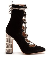 Valentino Lace Up Velvet Ankle Boots Multi