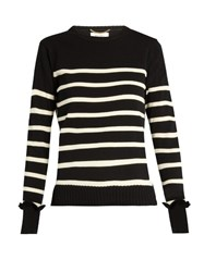 Muveil Lace Underlay Striped Knit Sweater Black White