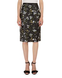 Erdem Aysha Floral Print Leather Pencil Skirt Black White Silver