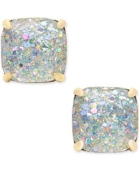 Kate Spade New York 14K Gold Plated Glittery Purple Square Stud Earrings White