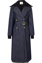 Tibi Stretch Merino Wool Trimmed Denim Trench Coat Dark Denim