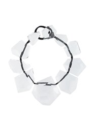 Monies Oversized Faceted Stone Necklace White