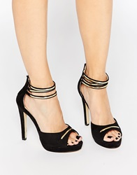 Little Mistress Peep Toe Ankle Strap Heeled Shoes Black