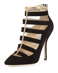 Jimmy Choo Freeze Strappy Cage Pump Black Gold