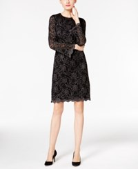 Inc International Concepts Metallic Flocked Lace Dress Only At Macy's Deep Black