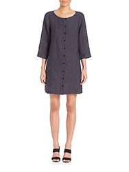 Eileen Fisher Three Quarter Sleeve Button Front Linen Dress Denim